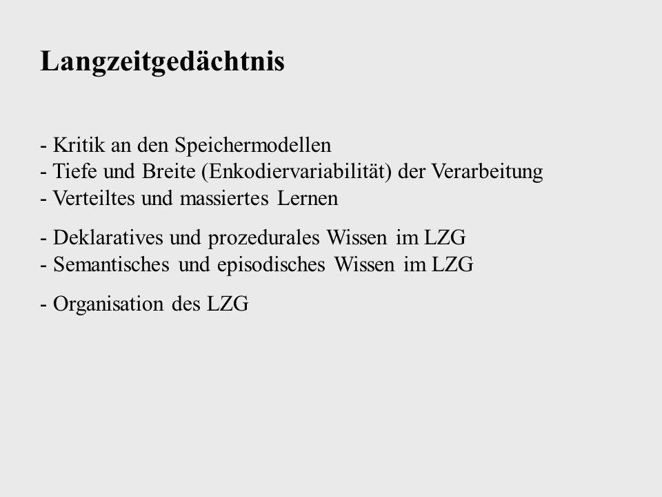 Langzeitgedächtnis - Kritik an den Speichermodellen - Tiefe und Breite (Enkodiervariabilität) der Verarbeitung - Verteiltes und massiertes Lernen.