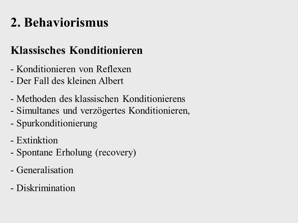 2. Behaviorismus Klassisches Konditionieren