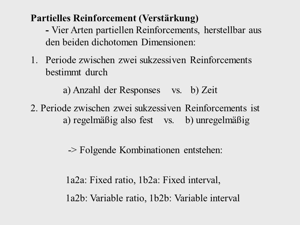 Partielles Reinforcement (Verstärkung) - Vier Arten partiellen Reinforcements, herstellbar aus den beiden dichotomen Dimensionen: