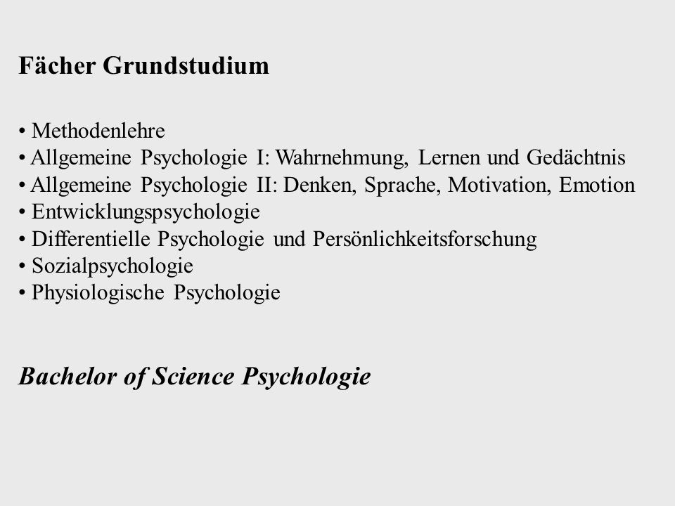 Bachelor of Science Psychologie