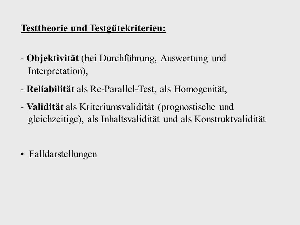 Testtheorie und Testgütekriterien: