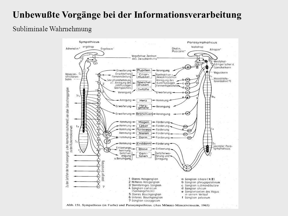 Unbewußte Vorgänge bei der Informationsverarbeitung