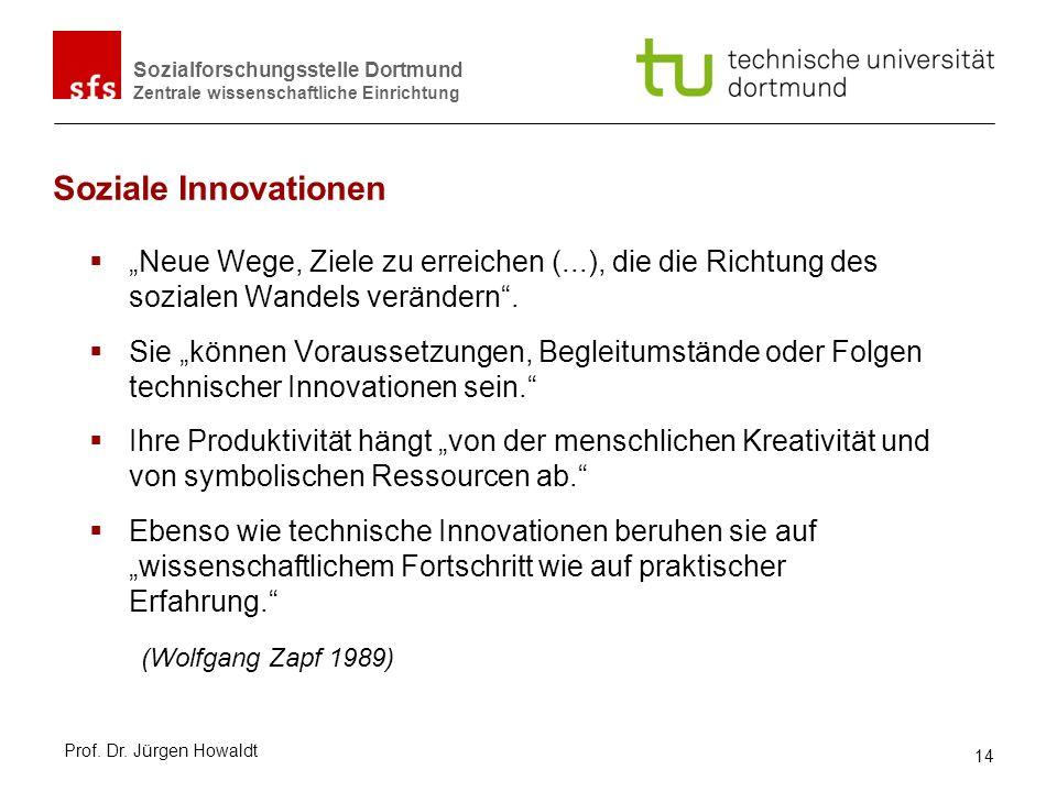 """Soziale Innovationen """"Neue Wege, Ziele zu erreichen (...), die die Richtung des sozialen Wandels verändern ."""
