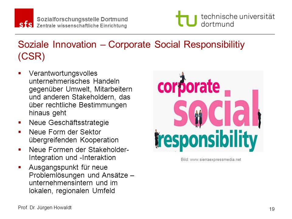 Soziale Innovation – Corporate Social Responsibilitiy (CSR)