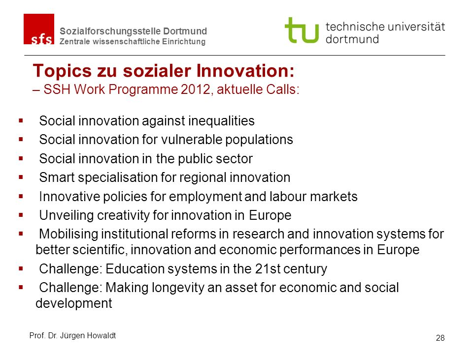 Topics zu sozialer Innovation: – SSH Work Programme 2012, aktuelle Calls: