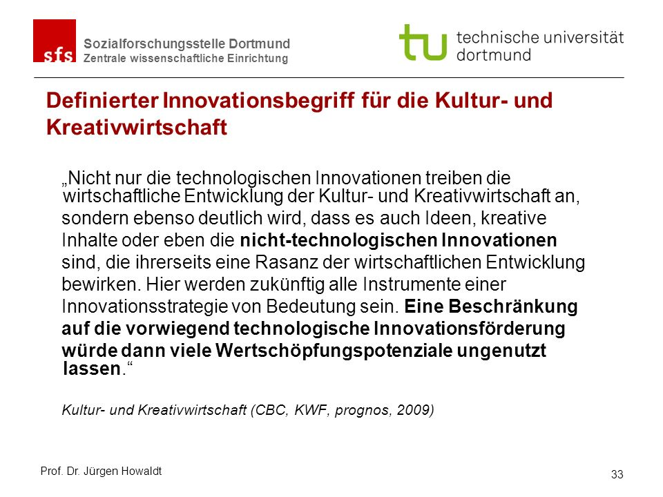 Definierter Innovationsbegriff für die Kultur- und Kreativwirtschaft