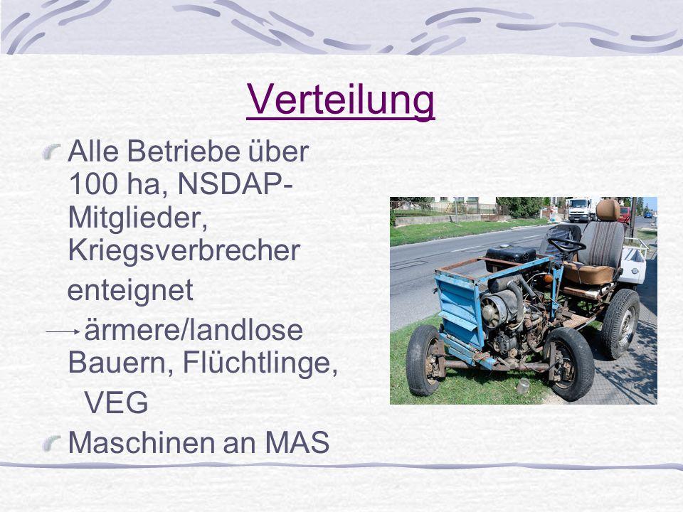 Verteilung Alle Betriebe über 100 ha, NSDAP- Mitglieder, Kriegsverbrecher. enteignet. ärmere/landlose Bauern, Flüchtlinge,