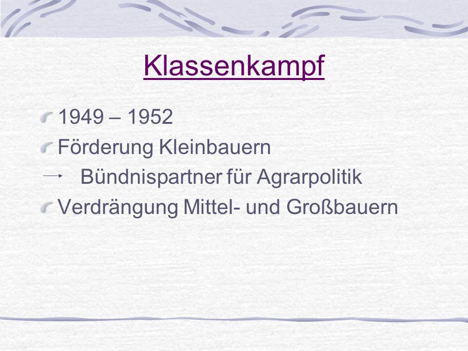 Klassenkampf 1949 – 1952 Förderung Kleinbauern