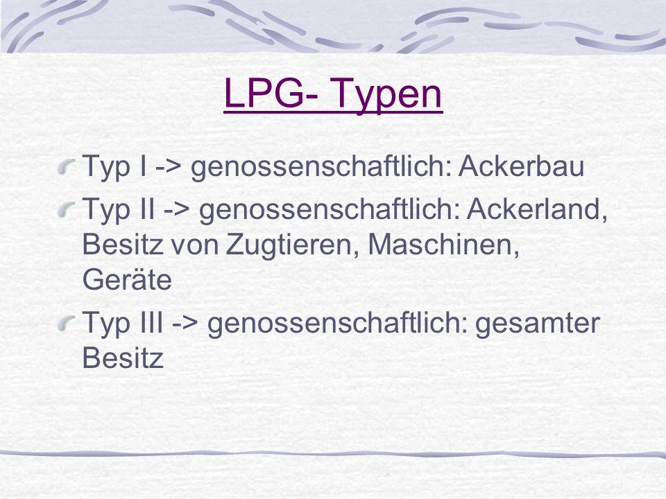 LPG- Typen Typ I -> genossenschaftlich: Ackerbau