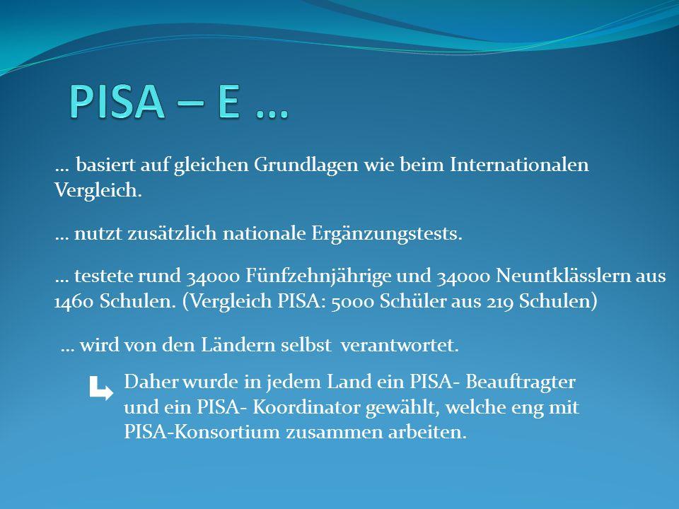 PISA – E …... basiert auf gleichen Grundlagen wie beim Internationalen Vergleich. … nutzt zusätzlich nationale Ergänzungstests.