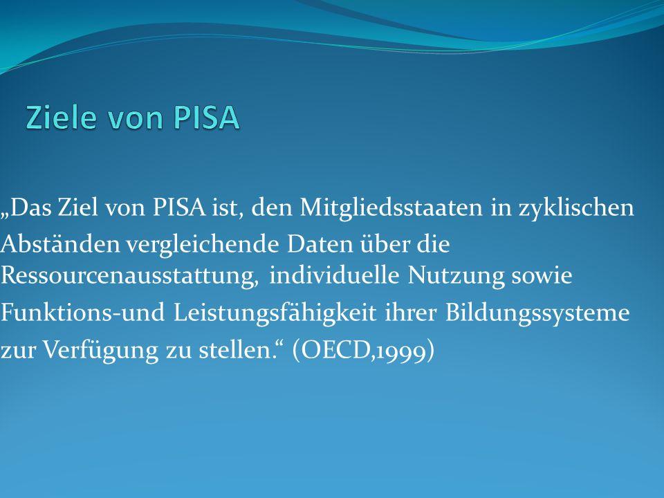 """Ziele von PISA """"Das Ziel von PISA ist, den Mitgliedsstaaten in zyklischen."""