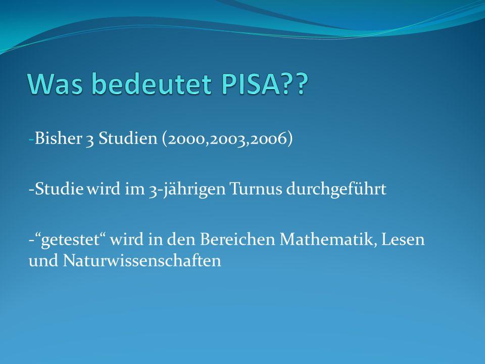 Was bedeutet PISA Bisher 3 Studien (2000,2003,2006)