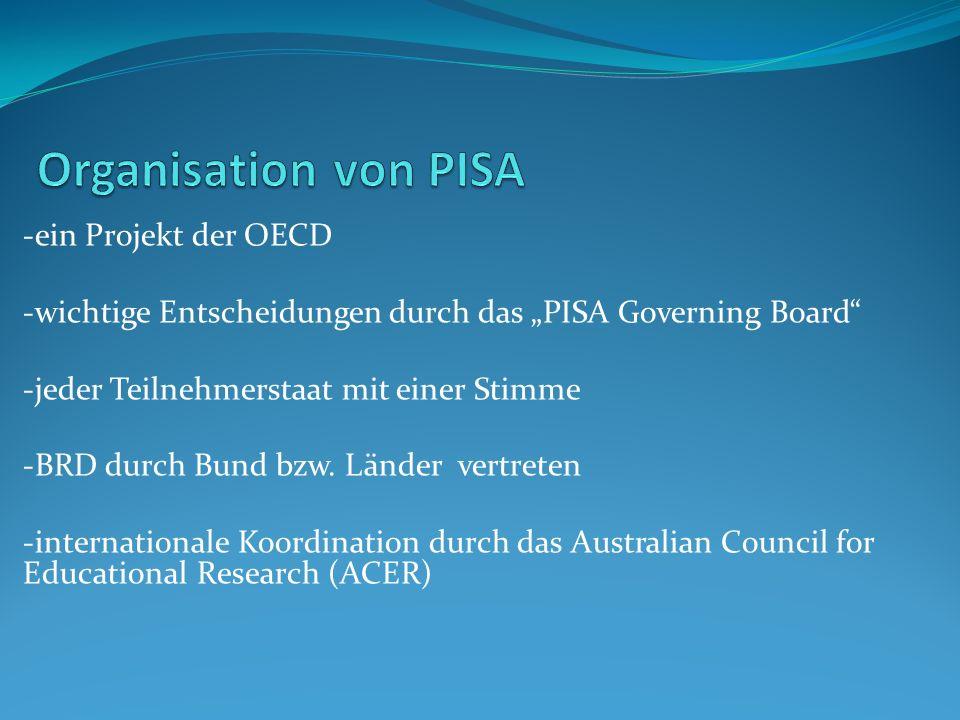 Organisation von PISA -ein Projekt der OECD