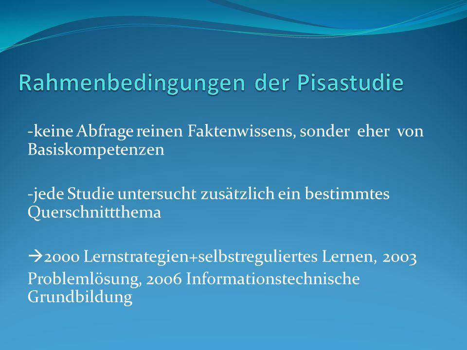 Rahmenbedingungen der Pisastudie
