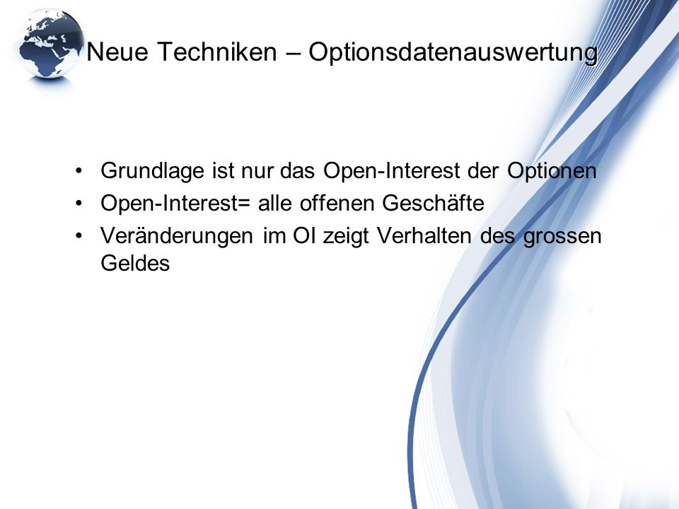 Neue Techniken – Optionsdatenauswertung