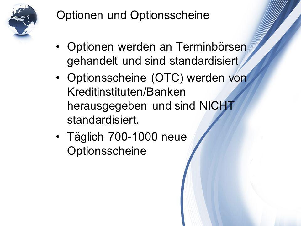 Optionen und Optionsscheine