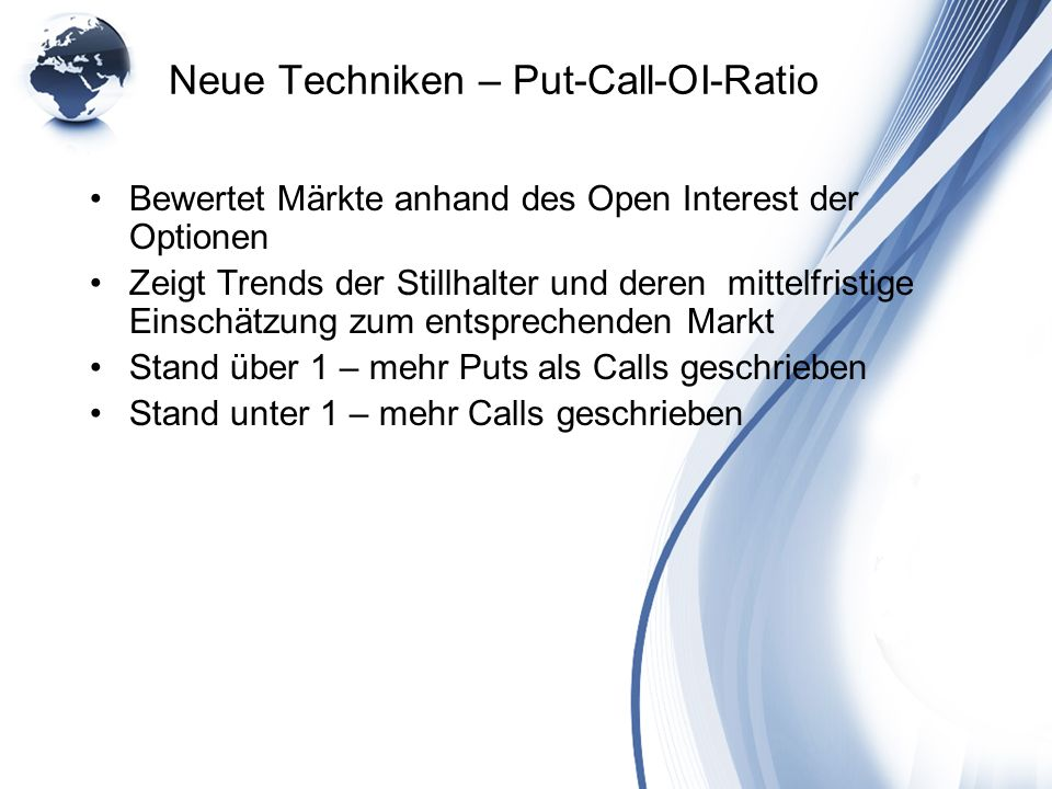 Neue Techniken – Put-Call-OI-Ratio