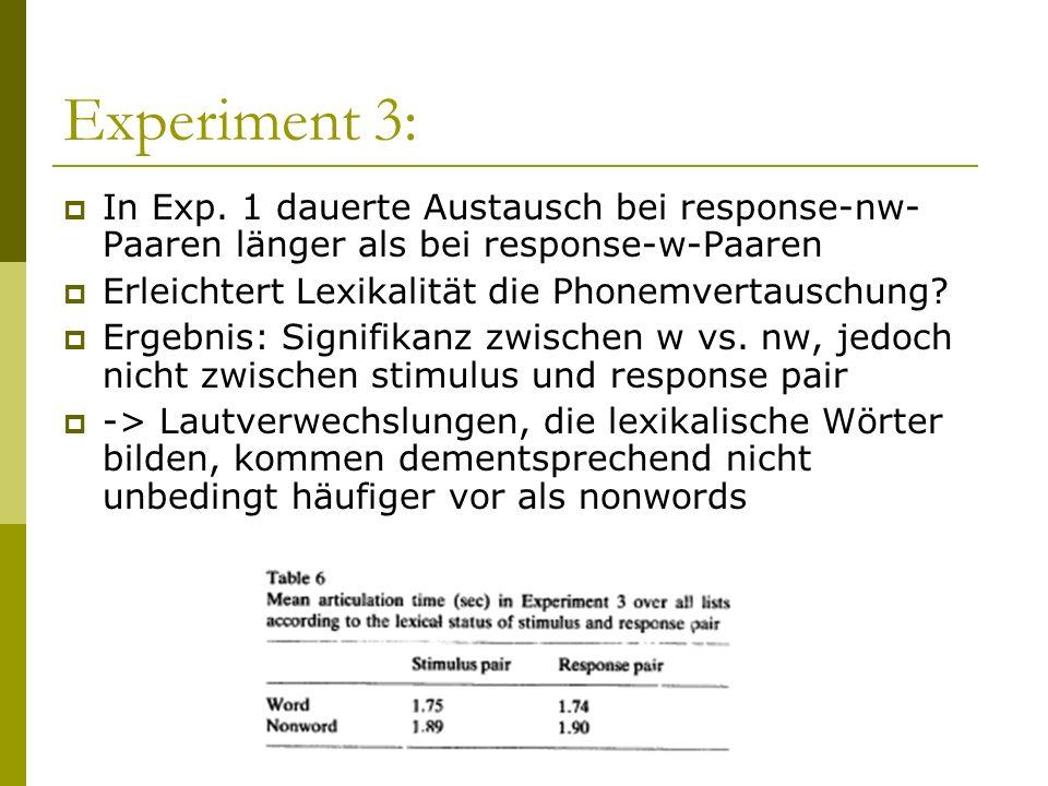 Experiment 3: In Exp. 1 dauerte Austausch bei response-nw-Paaren länger als bei response-w-Paaren. Erleichtert Lexikalität die Phonemvertauschung