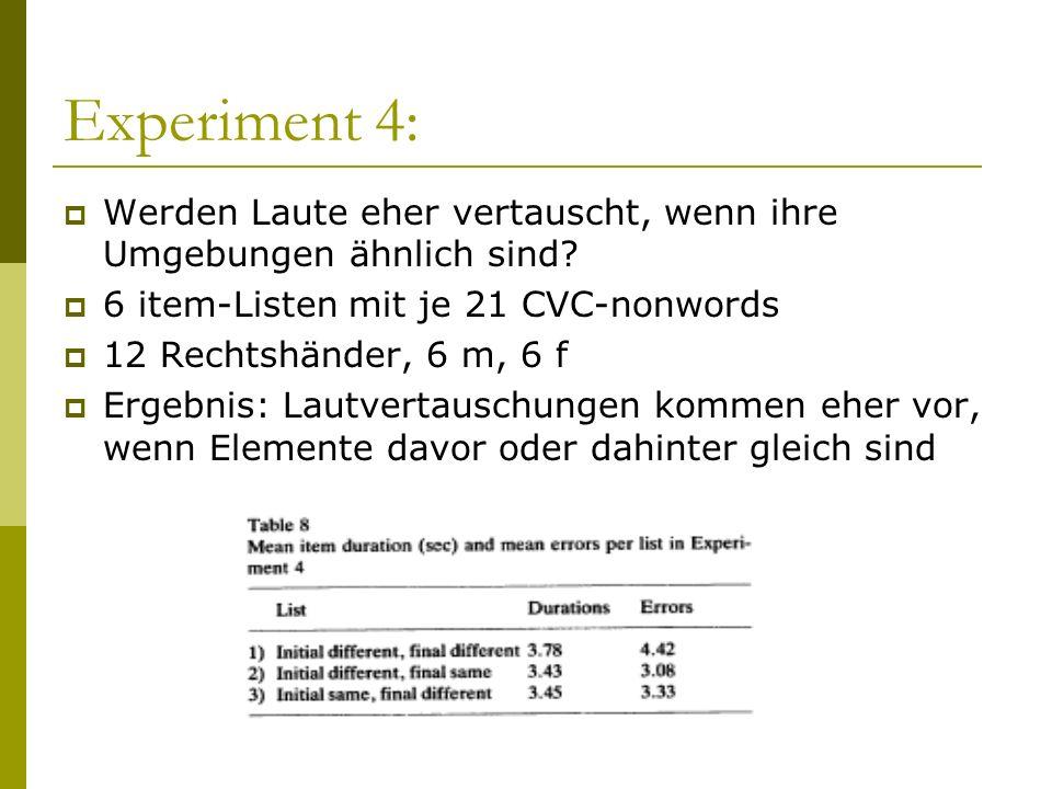 Experiment 4: Werden Laute eher vertauscht, wenn ihre Umgebungen ähnlich sind 6 item-Listen mit je 21 CVC-nonwords.