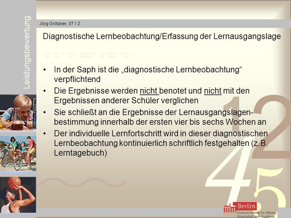 Diagnostische Lernbeobachtung/Erfassung der Lernausgangslage