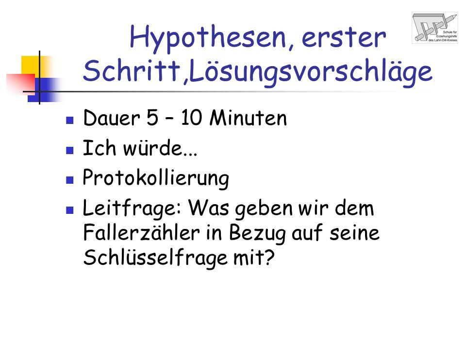 Hypothesen, erster Schritt,Lösungsvorschläge