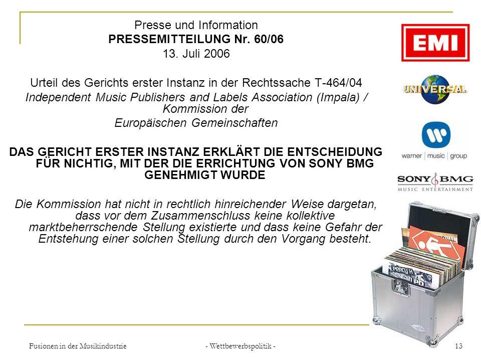 Presse und Information PRESSEMITTEILUNG Nr. 60/06 13. Juli 2006