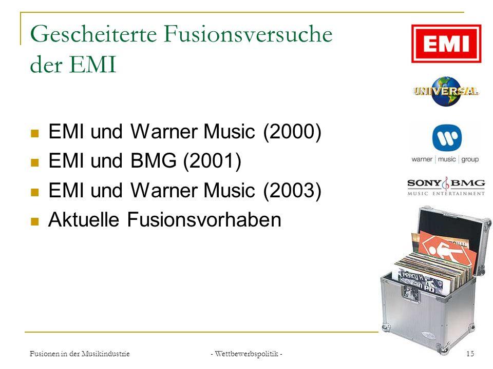 Gescheiterte Fusionsversuche der EMI