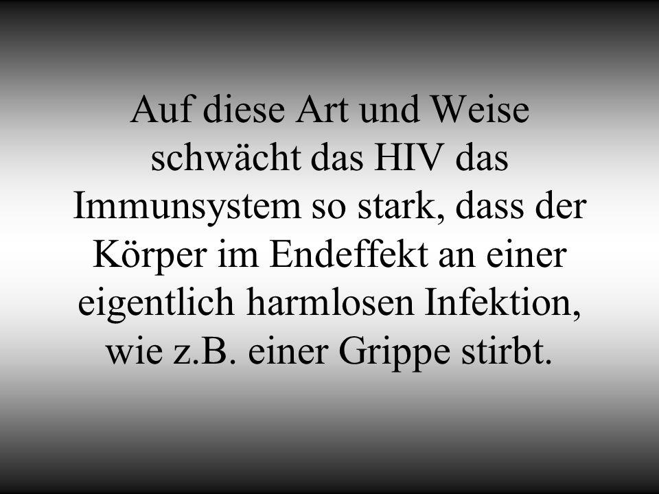 Auf diese Art und Weise schwächt das HIV das Immunsystem so stark, dass der Körper im Endeffekt an einer eigentlich harmlosen Infektion, wie z.B.