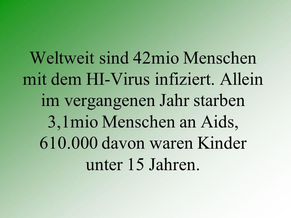 Weltweit sind 42mio Menschen mit dem HI-Virus infiziert