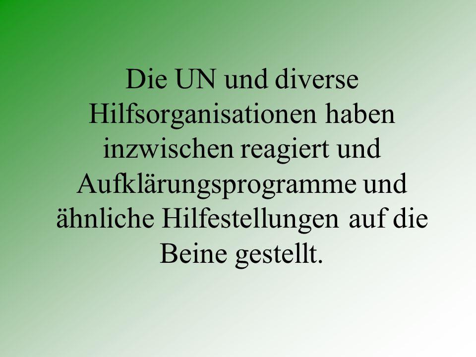 Die UN und diverse Hilfsorganisationen haben inzwischen reagiert und Aufklärungsprogramme und ähnliche Hilfestellungen auf die Beine gestellt.