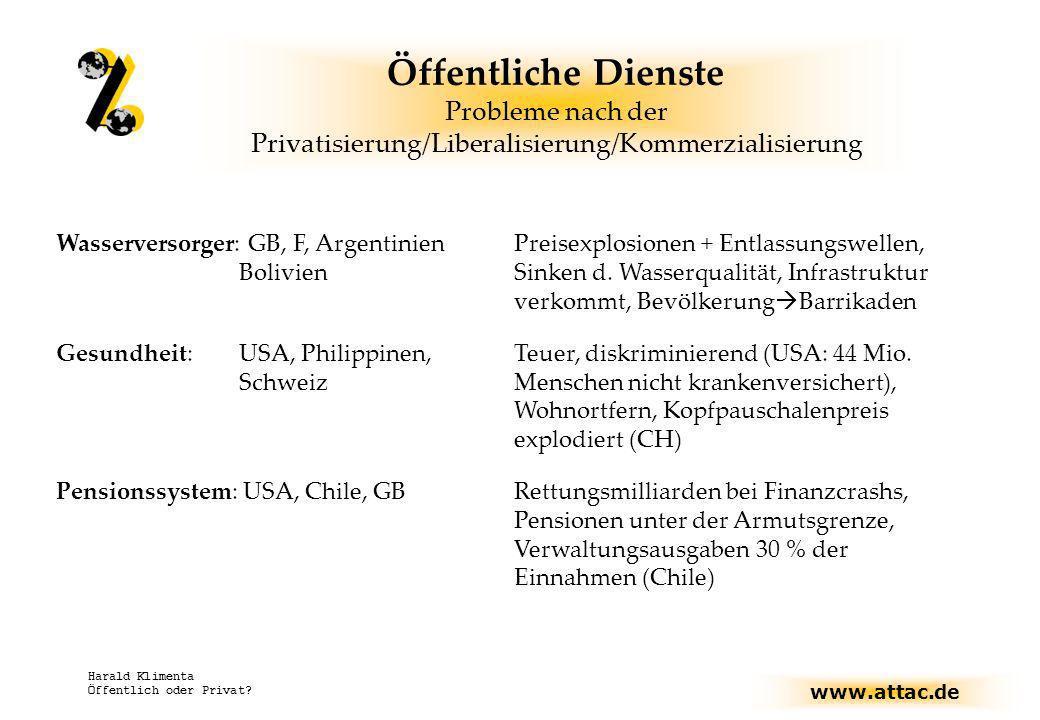 Öffentliche Dienste Probleme nach der Privatisierung/Liberalisierung/Kommerzialisierung