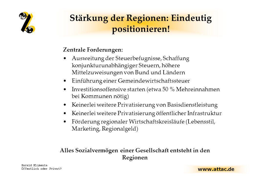 Stärkung der Regionen: Eindeutig positionieren!