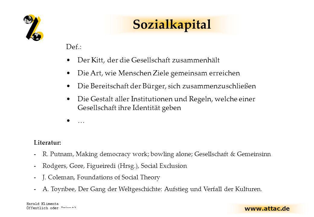 Sozialkapital Def.: Der Kitt, der die Gesellschaft zusammenhält