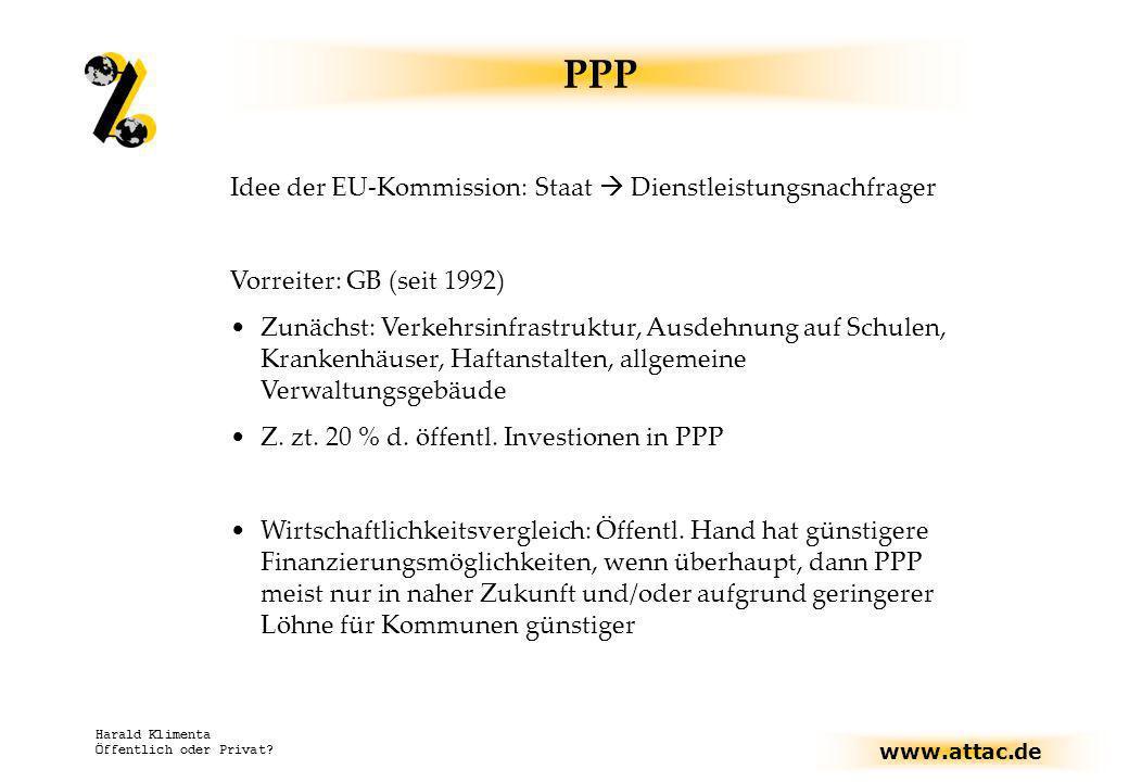 PPP Idee der EU-Kommission: Staat  Dienstleistungsnachfrager