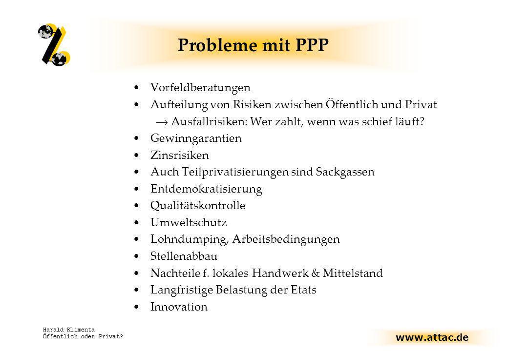Probleme mit PPP Vorfeldberatungen