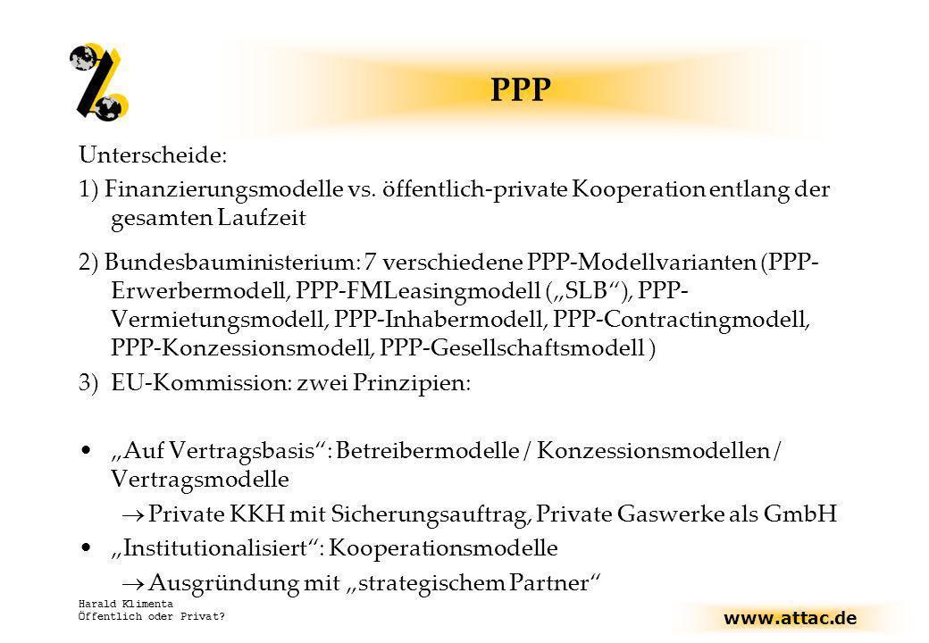 PPP Unterscheide: 1) Finanzierungsmodelle vs. öffentlich-private Kooperation entlang der gesamten Laufzeit.