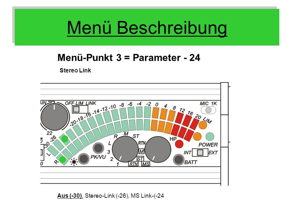 Menü Beschreibung Menü-Punkt 3 = Parameter - 24 Stereo Link