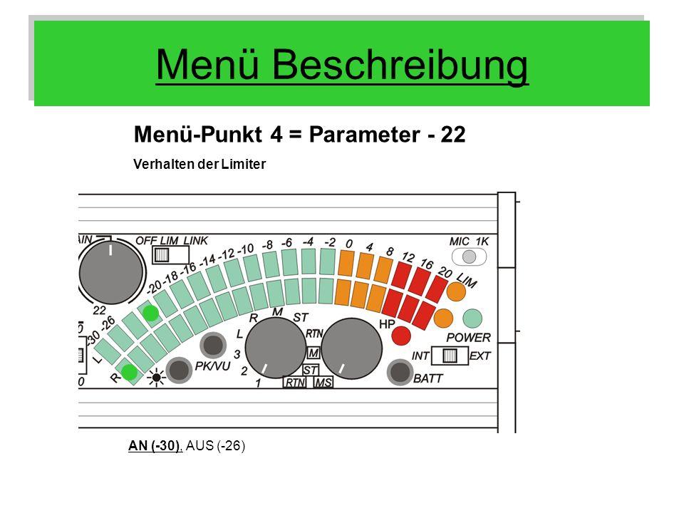 Menü Beschreibung Menü-Punkt 4 = Parameter - 22 Verhalten der Limiter
