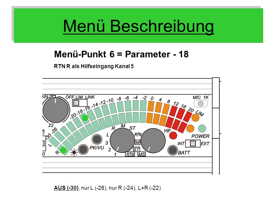 Menü Beschreibung Menü-Punkt 6 = Parameter - 18