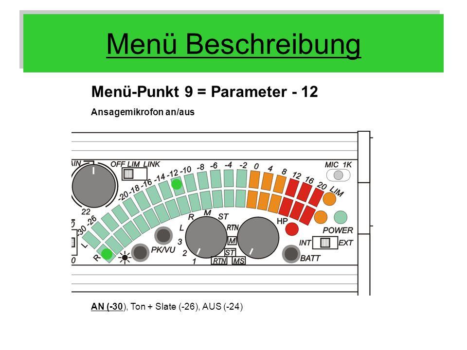 Menü Beschreibung Menü-Punkt 9 = Parameter - 12 Ansagemikrofon an/aus