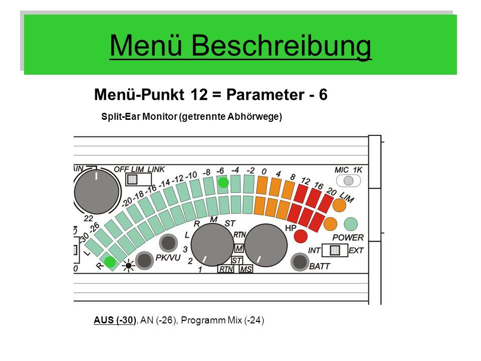 Menü Beschreibung Menü-Punkt 12 = Parameter - 6