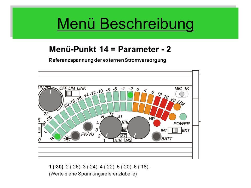 Menü Beschreibung Menü-Punkt 14 = Parameter - 2