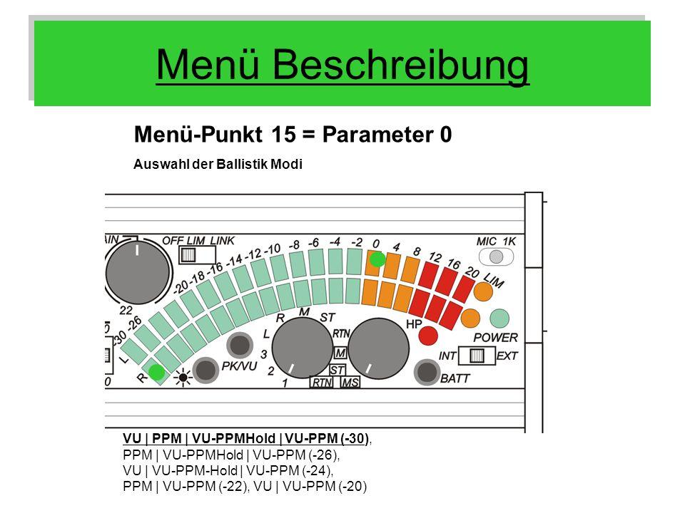 Menü Beschreibung Menü-Punkt 15 = Parameter 0