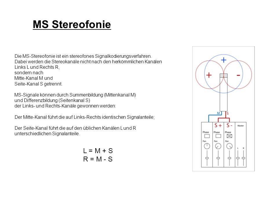 MS Stereofonie L = M + S R = M - S