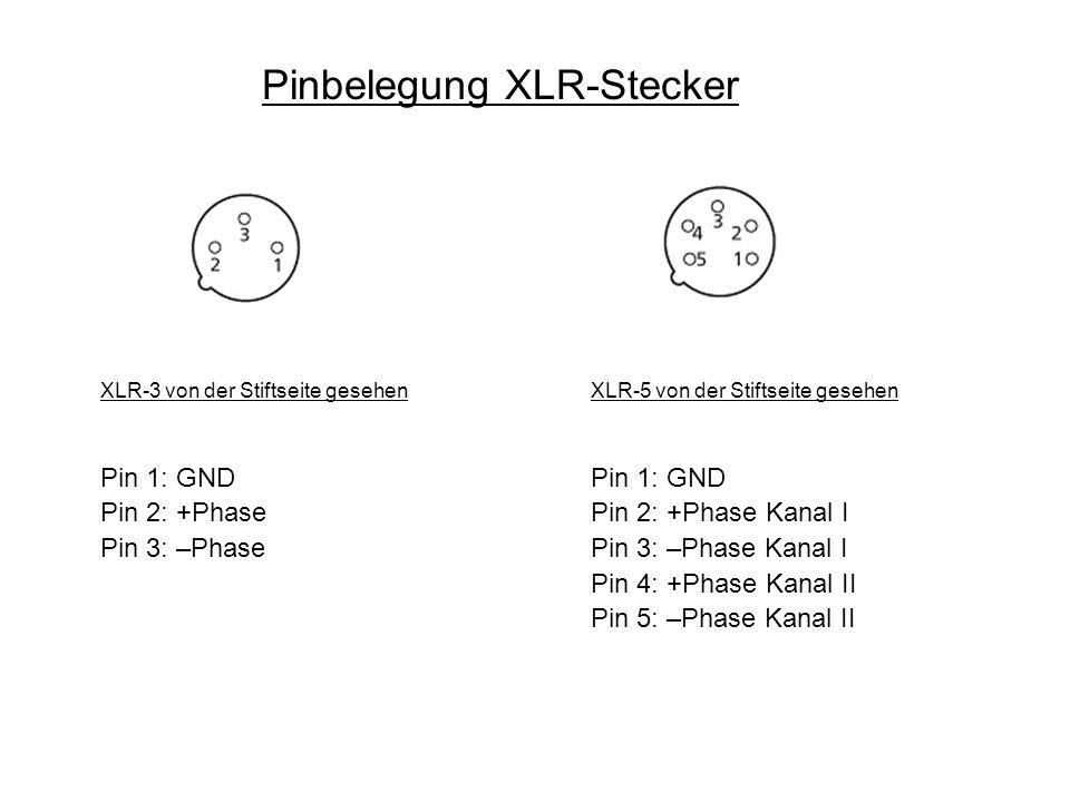Pinbelegung XLR-Stecker