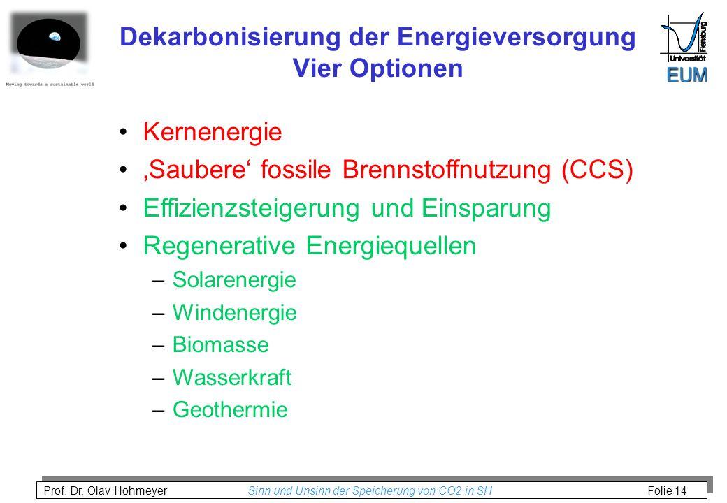Dekarbonisierung der Energieversorgung Vier Optionen