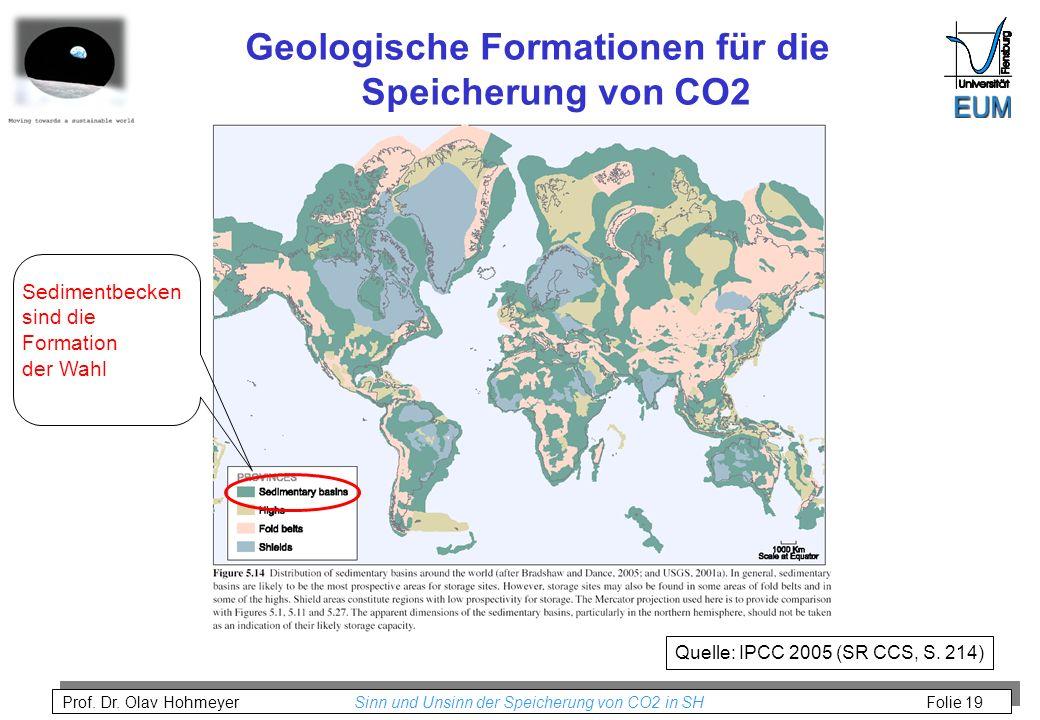 Geologische Formationen für die Speicherung von CO2