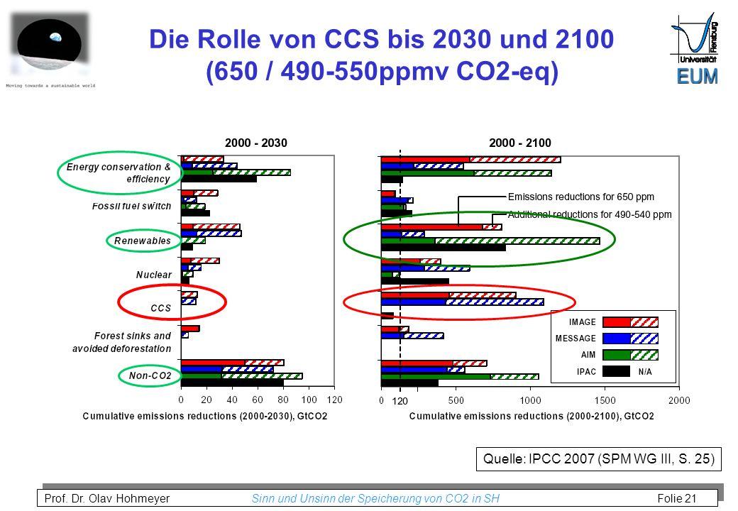 Die Rolle von CCS bis 2030 und 2100 (650 / 490-550ppmv CO2-eq)