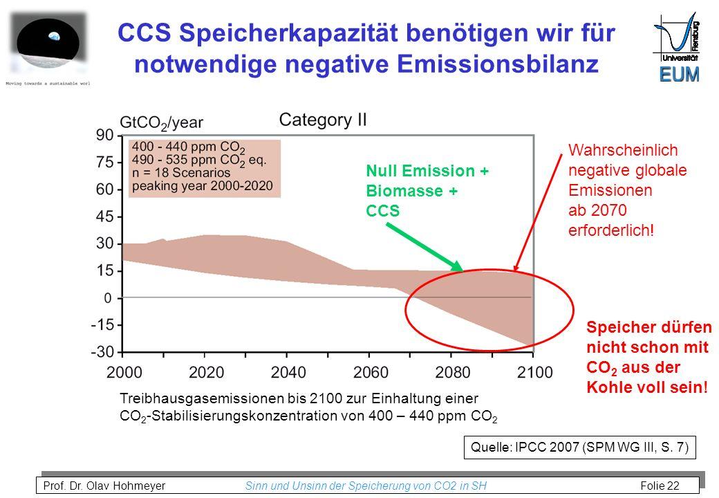 CCS Speicherkapazität benötigen wir für notwendige negative Emissionsbilanz