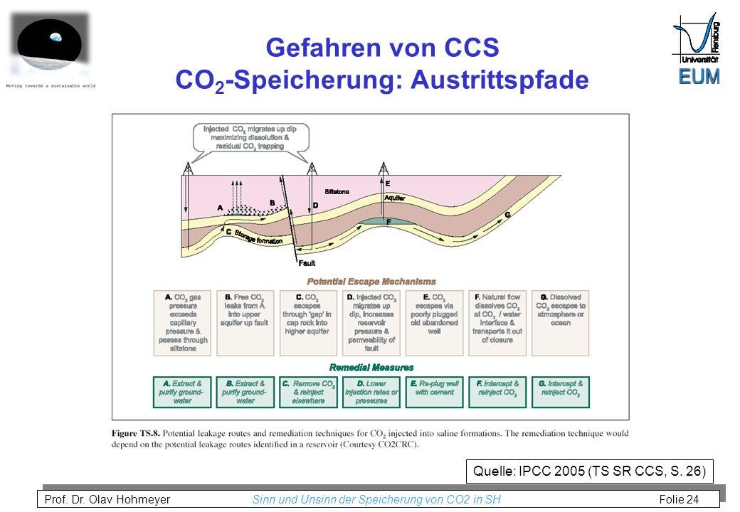 Gefahren von CCS CO2-Speicherung: Austrittspfade